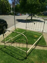 Mid-1800and039s Victorian Antique Iron Bed With Scrolled Brass Andmdash Full Or Queen