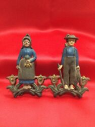 Vtg Wilton Cast Iron Pair Male Female Farmers Wall Hanging Note Clip