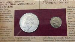 1993 P Thomas Jefferson Coinage And Currency 2 Dollar Star Note 2 Coin Set