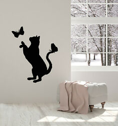Vinyl Wall Decal Cute Cat With Butterflies Pets House Nursery Stickers g1407