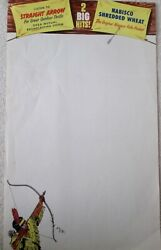 Nabisco Straight Arrow Wheat Cereal Unused Store Advertising Poster 1948-51
