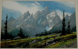 Roy Kerswill Signed Original Watercolor Painting Of Landscape Mountain