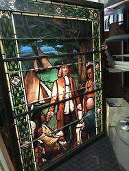 Set Of 3 Historical Stained Glass Windows 65 X 88.5