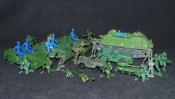 Vintage Green Army Men Blue Soldiers 1960's Tanks Jeeps Tim Mee Mpc Marx Remco