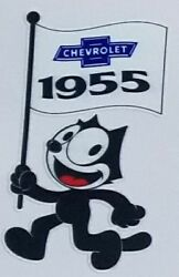 Felix 1955 And 1968 Chevrolet Flag Decals With Chevrolet Set Of Two Decal Bundle