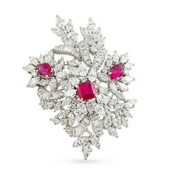 45ct Red Asscher White Baguette Cluster 925 Sterling Silver High Brooch Pin CZ
