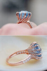 1.64ct Natural Round Diamond 14k Solid Rose Gold Sapphire Gemstone Cocktail Ring