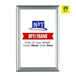 11x17 Snap Frames, 1 Profile, Opti Frame, Safe Corners, Wall Mounted - Silver