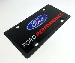 Premium Black Ford Performance License Plate w Logo Emblem