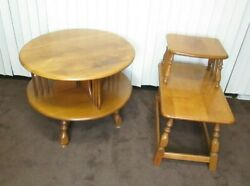 Pair Of Vintage Mid Century Maple Round And Rectangular Two-tiered End Tables