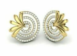 2.02ct Natural Round Diamond 14k Solid Yellow Gold Screw Back Stud Earring