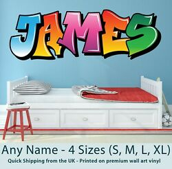 Personalised Name For Childrens Wall Sticker Bedroom Boy Girl Graffiti Design