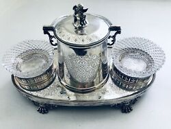 Silver Plate Engraved Butler Biscuit Barrel/canister W/ Glass Jelly/butter Bowls