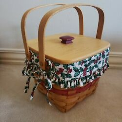 Longaberger 1995 Christmas Cranberry Basket Combo Red Weave Traditional Holly