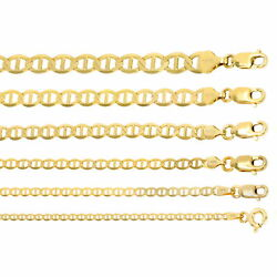 14k Yellow Gold Solid 2mm-7.5mm Anchor Mariner Link Chain Necklace 16-30
