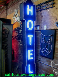 Vintage 1940's vertical HOTEL Neon ANTIQUE sign. * Single Sided