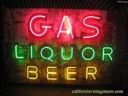 Vintage 1940's GAS, LIQUOR, BEER Antique Neon Sign * double sided / One Neon