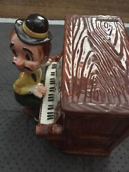 Vintage Lefton Saloon Piano Player Coin Operated Bank And Music Box Working
