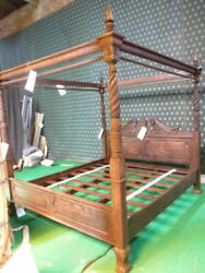 Usa King 76x80 Dark Antique Mahogany Queen Anne Style Four Poster Mahogany Bed