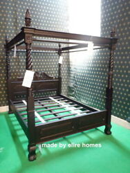 Choice Of Matt Black Or Natural Black Queen Anne Style Four Poster Mahogany Bed