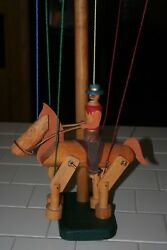 Folk Art Type Vintage Wooden Cowboy On Horse Marionette/preowned/on Stand