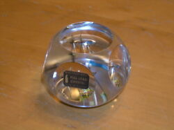 Vintage Whitefriars Full Lead Crystal Paperweight Lens Cut Ship Transparency