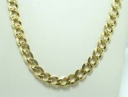 14k Y Gold Italian Dia Cut Textured Curb Link Chain Necklace Heavy 23.5 D8148