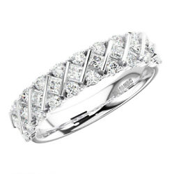 0.70 Carat Round And Princess Cut Diamonds Half Eternity Ring In 9k White Gold