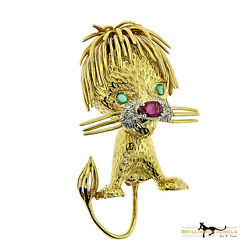 Authentic Cartier 'Whimsical Lion' Diamond Ruby & Emerald 18k Gold Brooch Pin