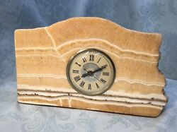 Vtg Working Marble Mantle Clock Lanshire Movement Electric Polished Marble 7x11