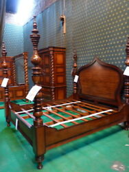 STOCK Super King Dark Mahogany Dutch Style Moroccan Four  Poster Bed himmelbett