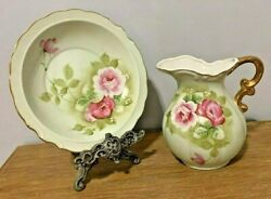 Vintage Lefton China Green Heritage Small Pitcher And Bowl Set 4578 Pink Rose