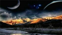 249891 Beauty Space Planet Night Sky Star Moon Landscape WALL PRINT POSTER US