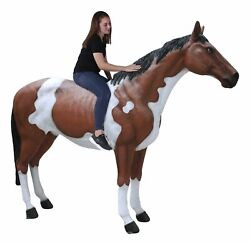 Horse Statue - Life Size Fiberglass Indian Horse Museum Quality Standing
