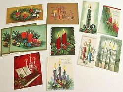Vintage Christmas Candles Cards Lot Of 17 Mcm Glitter Flocked Ornaments Holly