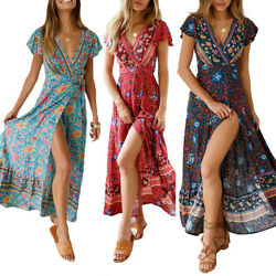 Women Wrap Summer Boho Floral Paisley Maxi Print Dress Ladies Holiday Beach US $18.46