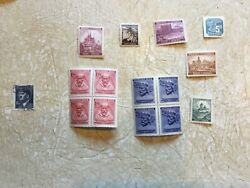 15 Unc 2 Block Germany 3rd Reich Occupied Bohemia Marovia Stamp Hitler Stamp