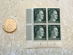 Rare 1939 A Germany Silver 2 Mark And Unc Block Of 4 Hitler 50p Stamps Lot Ww2