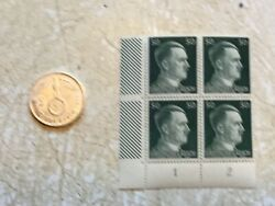 Rare 1939 F Germany Silver 2 Mark And Unc Block Of 4 Hitler 50p Stamps Lot Ww2