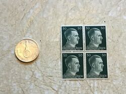 Rare 1937 E Germany Toned Silver 2 Mark And Unc Block Of 4 Hitler 50p Stamps Ww2