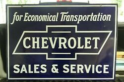 Chevrolet Dealer Porcelain Sign  Late 1920s super rare condition double sided