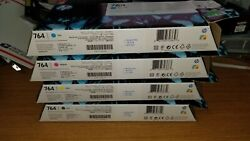 Empty Genuine Hp Designjet T3500 764 Starter Ink Cartridges And Used Boxes
