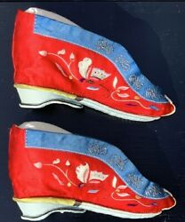 Pair Of Antique Chinese Silk And Embroidered Lotus Shoes In Acrylic Showcase.