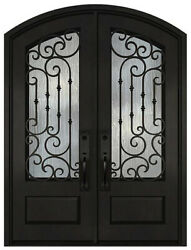 Wrought Iron Front Entry Double Door Prehung Operable Glass 30X96/36X96 Inches
