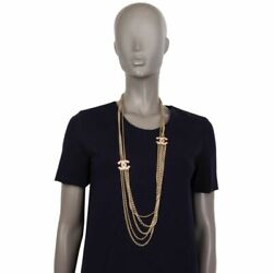 58591 Auth Cc Crystal Rhinestone And Gold-tone Chain Necklace