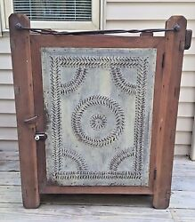 Antique 19th Century Hanging Pie Safe With Metal Hangers And Shelves M