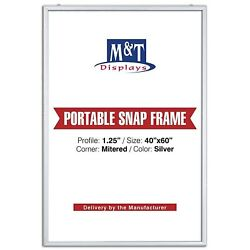 Mandt Displays Portable Snap Frame, 40x60 Size, 1.25 With White Backing, Silver