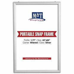 Mandt Displays Portable Snap Frame, 40x60, 1.77 Profile, White Backing, Silver