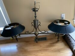 Vintage Chapman Bouillotte Chandelier Tole Shades Brass Pullman Train Billiards