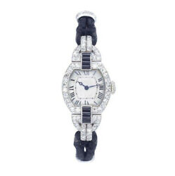 Solid 925 Sterling Silver Womenand039s Wrist Watch Square Delicate Vintage Style Blue